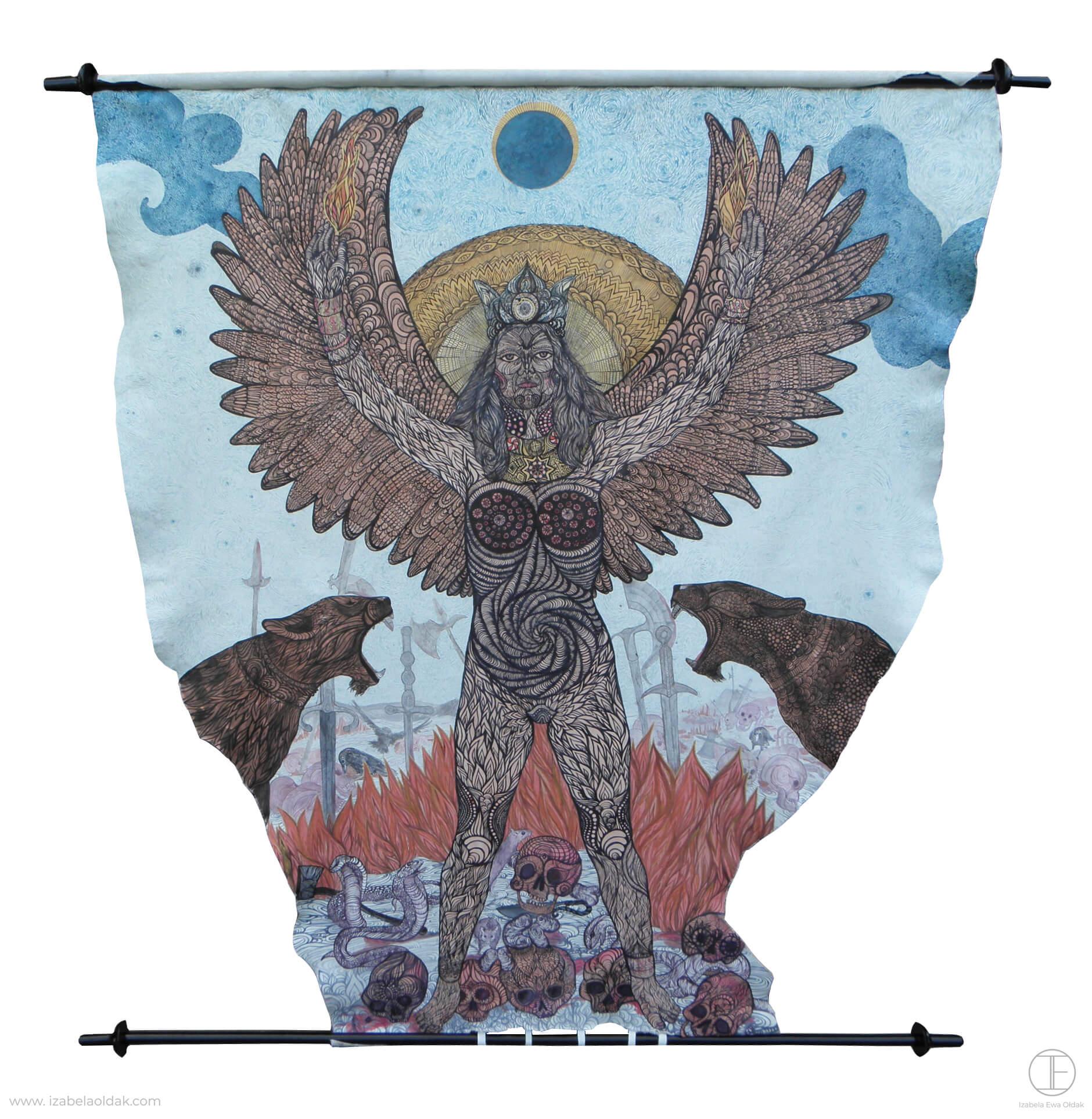 Izabela Ewa Ołdak, Bogini Wojny z cyklu Apoteoza Mitu, 2011 180cm dł, ekolina na skórze