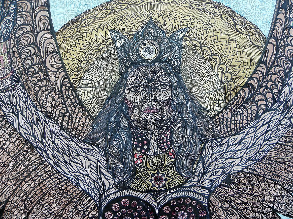 Izabela Ewa Ołdak, Bogini Wojny z cyklu Apoteoza Mitu, 2011 , fragment, ekolina na skórze