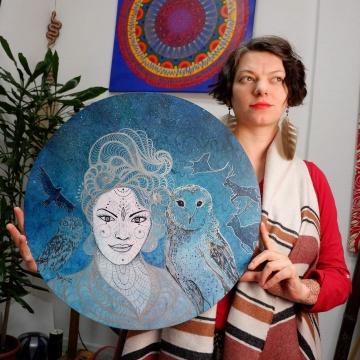 Moon Lady, 50cm, akwarela, marker na desce, 2020.