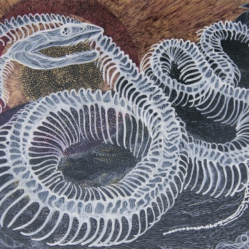 Reminiscencje utraconej wiedzy, 80×40, akryl, akwarela na płótnie, 2012.