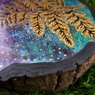 Kosmiczna Paproć, wys: 35cm, akryl, marker, tusz na drewnie, 2020