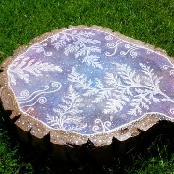 Kosmiczne Paprocie, wys.: 41cm, akryl, tusz na drewnie, werniksowany, 2020