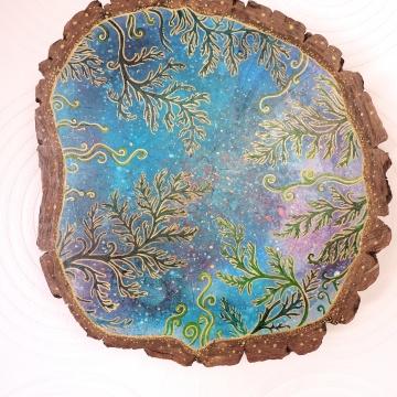 Kosmiczne Paprocie, wys.: 39cm, akryl, marker, tusz na drewnie, 2020.