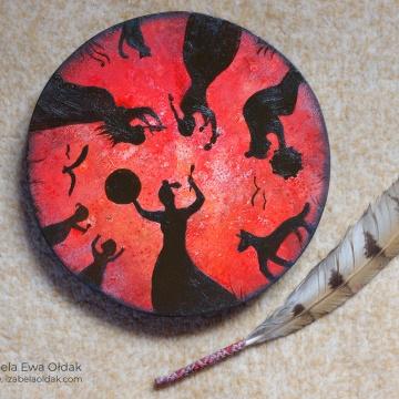 Krąg Kobiet-Krąg Życia, 22cm, olej, tusz na drewnie, 2020.