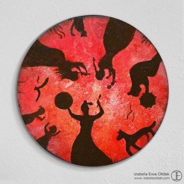 Krąg Kobiet - Krąg Życia, średnica 22cm, olej, tusz na drewnie, 2020.