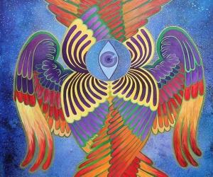 Serafin, 100x70cm, oil, watercolor on canvas, 2019 kopia
